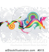 Vector Illustration of a Website Background of Twisting Rainbows, Arrows and Targets over a Dotted Background by AtStockIllustration