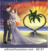 Vector Illustration of a Wedding Couple on a Tropical Beach with a Heart Tree by AtStockIllustration