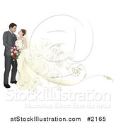 Vector Illustration of a Wedding Couple with a Floral Train by AtStockIllustration