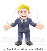 Vector Illustration of a Welcoming Blond Businessman in a Blue Suit by AtStockIllustration