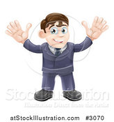 Vector Illustration of a Welcoming Businessman Waving with Both Hands by AtStockIllustration