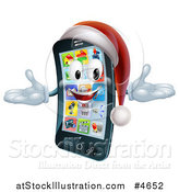 Vector Illustration of a Welcoming Christmas Smart Phone Mascot Wearing a Santa Hat by AtStockIllustration