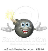Vector Illustration of a Welcoming Happy Bomb Mascot by AtStockIllustration