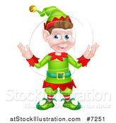 Vector Illustration of a Welcoming Young Brunette White Male Christmas Elf by AtStockIllustration