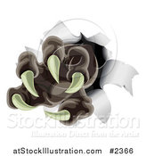 Vector Illustration of a Werewolf Claw Ripping Through Paper by AtStockIllustration
