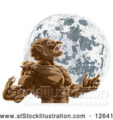 Vector Illustration of a Werewolf Man Howling Against Full Moon by AtStockIllustration