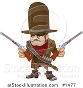 Vector Illustration of a Western Cowboy Bandit Wearing Bullets and Holding Two Pistils by AtStockIllustration