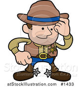 Vector Illustration of a Western Cowboy Sheriff Man in Chaps and Spurs, Tipping His Hat by AtStockIllustration