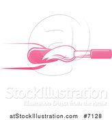 Vector Illustration of a White and Pink Nail Polish Brush and Finger by AtStockIllustration