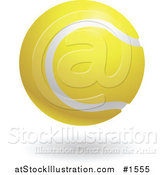 Vector Illustration of a White and Yellow Tennis Ball by AtStockIllustration