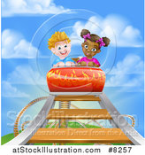 Vector Illustration of a White Boy and Black Girl on a Roller Coaster Ride, Against a Blue Sky with Clouds by AtStockIllustration