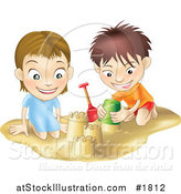 Vector Illustration of a White Boy and Girl Building Sand Castles Together by AtStockIllustration
