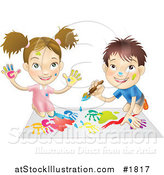 Vector Illustration of a White Boy and Girl Hand Painting and Painting Together by AtStockIllustration
