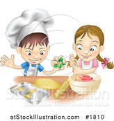 Vector Illustration of a White Boy and Girl Making Cookies Together by AtStockIllustration