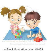 Vector Illustration of a White Boy and Girl Playing with Toys on a Floor Together by AtStockIllustration