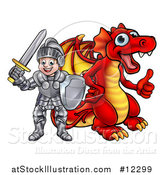 Vector Illustration of a White Boy Knight by a Red Dragon by AtStockIllustration
