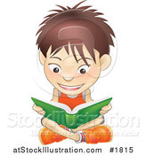 Vector Illustration of a White Boy Sitting on a Floor and Reading a Green Book by AtStockIllustration