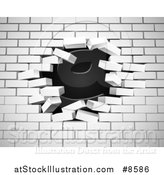 Vector Illustration of a White Brick Wall Breaking Apart, with a Hole in the Center, over Black by AtStockIllustration