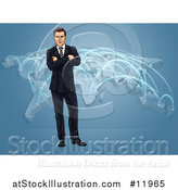Vector Illustration of a White Business Man Standing with Folded Arms over a World Map with Connections by AtStockIllustration