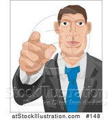 Vector Illustration of a White Businessman Pointing Outwards, Looking for Employees by AtStockIllustration