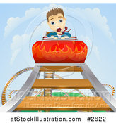 Vector Illustration of a White Businessman Screaming on a Roller Coaster Ride by AtStockIllustration
