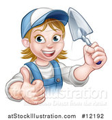 Vector Illustration of a White Female Mason Worker Holding a Trowel and Giving a Thumb up by AtStockIllustration