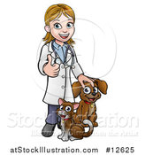 Vector Illustration of a White Female Veterinarian Giving a Thumb up over a Cat and Dog by AtStockIllustration