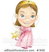 Vector Illustration of a White Girl in a Pink Fairy Princess Costume, Holding Her Wand Behind Her Back by AtStockIllustration