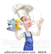 Vector Illustration of a White Male Chef with a Curling Mustache, Gesturing Ok and Holding a Fish and Chips on a Tray by AtStockIllustration