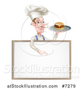 Vector Illustration of a White Male Chef with a Curling Mustache, Holding a Cheeseburger on a Platter and Pointing down over a Blank Menu Sign Board by AtStockIllustration