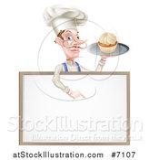 Vector Illustration of a White Male Chef with a Curling Mustache, Holding a Cupcake on a Tray and Pointing down over a Blank Menu Sign by AtStockIllustration