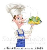 Vector Illustration of a White Male Chef with a Curling Mustache, Holding a Fish and Chips on a Tray and Pointing by AtStockIllustration