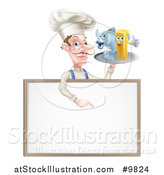 Vector Illustration of a White Male Chef with a Curling Mustache, Holding a Fish and Chips on a Tray and Pointing down over a Menu by AtStockIllustration