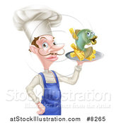 Vector Illustration of a White Male Chef with a Curling Mustache, Holding a Fish and Chips on a Tray by AtStockIllustration