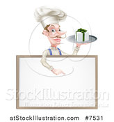 Vector Illustration of a White Male Chef with a Curling Mustache, Holding a Gift on a Platter and Pointing down at a Blank White Board Menu Sign by AtStockIllustration