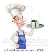 Vector Illustration of a White Male Chef with a Curling Mustache, Holding a Gift on a Platter by AtStockIllustration