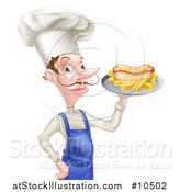 Vector Illustration of a White Male Chef with a Curling Mustache, Holding a Hot Dog and Fries on a Platter by AtStockIllustration