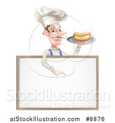 Vector Illustration of a White Male Chef with a Curling Mustache, Holding a Hot Dog on a Platter and Pointing down over a White Menu Board Sign by AtStockIllustration