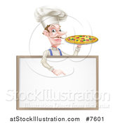 Vector Illustration of a White Male Chef with a Curling Mustache, Holding a Pizza and Pointing down over a Blank Menu Sign Board by AtStockIllustration