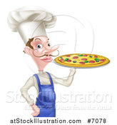 Vector Illustration of a White Male Chef with a Curling Mustache, Holding a Pizza by AtStockIllustration