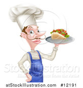 Vector Illustration of a White Male Chef with a Curling Mustache, Holding a Souvlaki Kebab Sandwich and French Fries on a Tray by AtStockIllustration