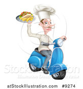 Vector Illustration of a White Male Chef with a Curling Mustache, Holding a Souvlaki Kebab Sandwich on a Scooter by AtStockIllustration