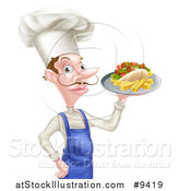 Vector Illustration of a White Male Chef with a Curling Mustache, Holding a Souvlaki Kebab Sandwich on a Tray by AtStockIllustration