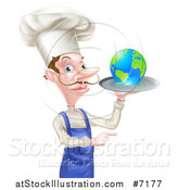 Vector Illustration of a White Male Chef with a Curling Mustache, Holding Earth on a Platter and Pointing by AtStockIllustration