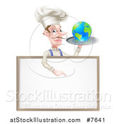Vector Illustration of a White Male Chef with a Curling Mustache, Holding Earth on a Platter and Pointing down at a Blank Menu Sign by AtStockIllustration