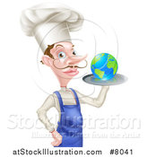 Vector Illustration of a White Male Chef with a Curling Mustache, Holding Earth on a Platter by AtStockIllustration
