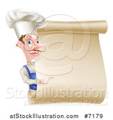 Vector Illustration of a White Male Chef with a Curling Mustache, Pointing Around a Blank Menu Scroll by AtStockIllustration