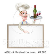 Vector Illustration of a White Male Chef with a Curling Mustache, Pointing down and Holding a Tray with Red Wine over a Blank Menu Sign Board by AtStockIllustration