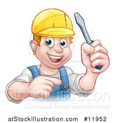 Vector Illustration of a White Male Electrician Holding up a Screwdriver and Pointing by AtStockIllustration