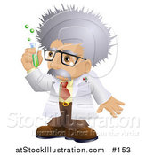 Vector Illustration of a White Male Scientist Holding a Test Tube by AtStockIllustration
